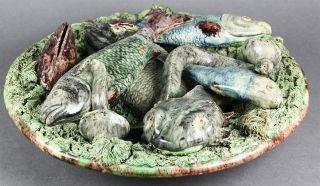 RARE ANTIQUE MAJOLICA MAFRA CALDAS PALISSY PLATE WITH FISH 19TH C.