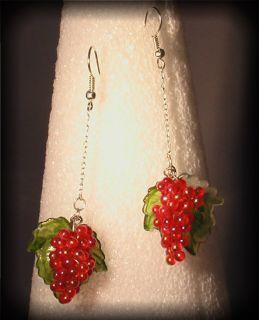 New red grape vine cluster drop bead dangle earrings cute for gift