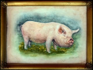 American Folk Art Watercolor of A Pig Signed and Dated 1941