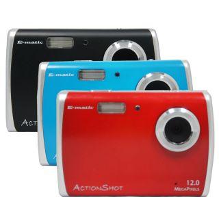 Ematic Actionshot 12 Mega Pixel Digital Camera w Flash Red Blue Black