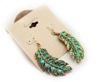 Fashion Classic Womens Earring Green Rhinestone Leaf Style Earrings