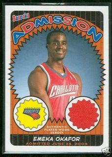 Charlotte Bobcats Emeka Okafor Game Used Jersey Card