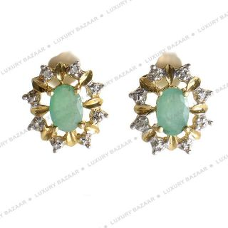 14k Yellow Gold Emerald and Diamond Stud Earrings