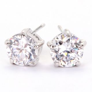 White Gold GP Swarovski Crystal 1CT Diamond Wedding Stud Earring Pin