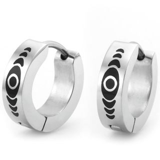Abstract Design Stainless Steel Hoop Earrings for Men Silver Black