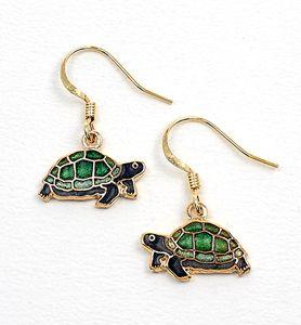 Turtle Earrings Gold Plated Enamel Jewelry Turtles New