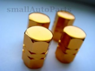 YELLOW GOLD ALUMINUM Wheel Tire air valve Stem CAPS for cars