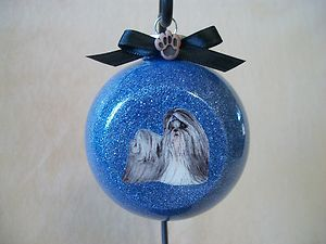 VERY Unique Handmade Shih Tzu Dog 3 Glass Ball Ornament, Made In The