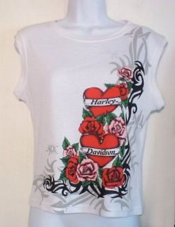 Harley Davidson White Sleeveless Roses Heart Tattoo Shirt Sz M Langley