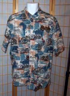 Harley Davidson Mens XL Motorcycle History Cotton Lawn Hawaii Camp