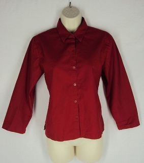 Eileen Fisher Red Cotton Stretch Shirt Top Size XS Tunic 611
