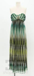Ella Moss Green & Black Multi Color Strapless Dress Size Petite