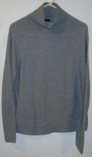 Eileen Fisher Womens Turtleneck Sweater Gray Sz Large L Wool Italian