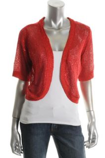 Ellen Tracy New Red Elbow Sleeve Scattered Sequined Open Crop Shrug
