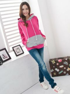 Ladies Cool Patternless P ink Hooded Jumper Top Shirt 2clr H0613