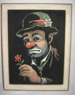 Painting by Numbers on Velvet, Emmett Kelly, CLOWN with Daisy.