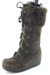 Report Emory Brown Suede Leather Zip Up Mid Calf Wedge Boots Women