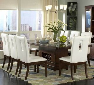 9pc Elmhurst Wood Dining Room Table Set Wine Storage