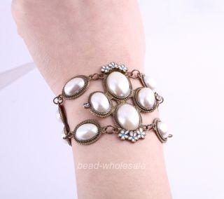Antique Style Enamel Flower White Pearl Crystal Link Bracelet