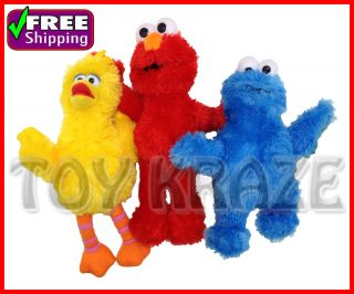 Sesame Street 3 PC Set Elmo Big Bird Cookie Monster Soft Plush Doll 9