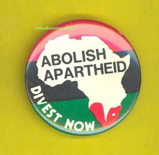 Abolish Apartheid 1970s Protest Pinback Button Badge