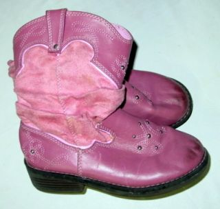 Girls Circo Faux Suede Pink Cowboy Cowgirl Western Boots 11