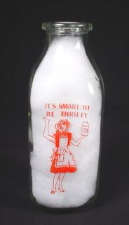QUART MILK BOTTLE ~ BORDEN'S ELSIE COW STANDING