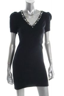 Moda International Black Embellished Angora Sweater Versatile Dress M