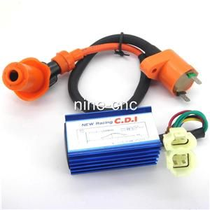 Racing performance 6 pins AC CDI box + Ignition Coil for Gy6 50cc