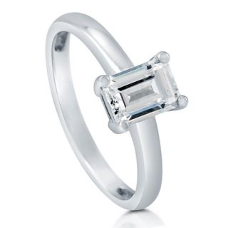 Emerald Cut Cubic Zirconia CZ 925 Sterling Silver Solitaire Ring 1 06