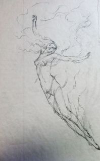Kinuko Craft Original Concept Drawing Leap of Faith Goddess