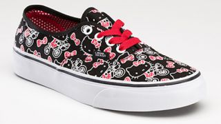KITTY VANS AUTHENTIC GIRLS TRAINERS KIDS PUMPS BLACK SIZES UK 11   4