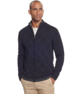 Tasso Elba NEW Blue Argyle Long Sleeve Full Zip Cardigan Sweater XL