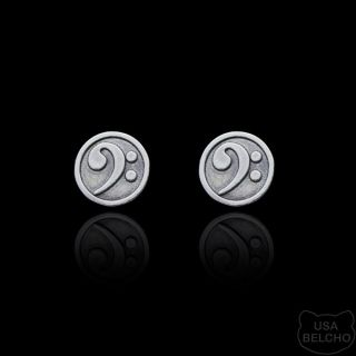 925 Sterling Silver Bass Clef Musical Note Post Earrings, Pair (Belcho