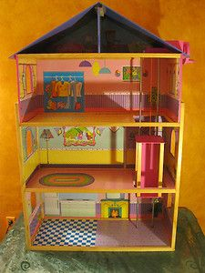 BARBIE DOLL HOUSE WOODEN WITH ELEVATOR STURDY COLORFUL QUALITY