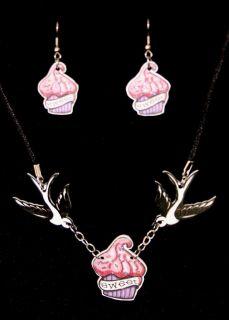 Cupcake Sparrow Rockabilly Tattoo Necklace Set Emo