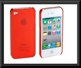 Red Ultra Thin Crystal Clear Snap on Hard Case Cover for iPhone 4 G 4S