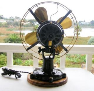 Antique Colonial Motor Electric Fan 5 Tab 12 Restored Brass Blades
