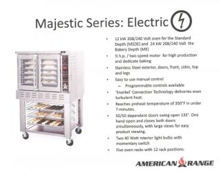 American Range Single Deck Electric Convection Oven Bakery Depth Me 1g