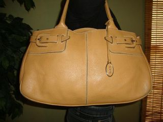 Lg Tan Beige Butterscotch Leather Tods Shoulder Bag Purse Tote Satchel