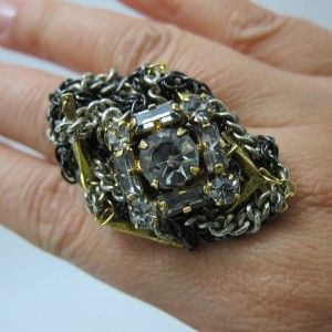 New Erickson Beamon Oval Crystal Ring Cluster Chians K 70100
