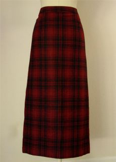 Eddie Bauer Long Wrap Boot Skirt Plaid Wool Red Black Fringe Pockets 8