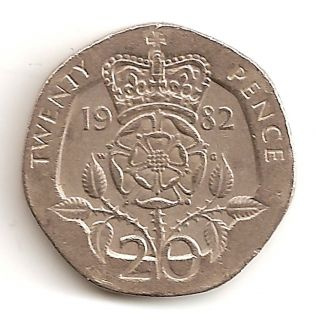 Kingdom UK 20 Pence 1982 Coin Elizabeth II 2nd portrait ope Coins