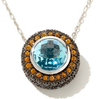 11.42ct Blue Topaz and Gemstone Sterling Silver Pendant with 18 Chain