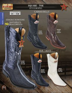 Los Altos Square Toe Stingray Caiman Elk Men Western Cowboy Boot Diff