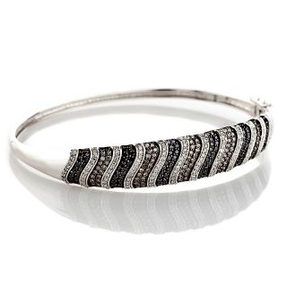 14K White Gold 2ct Brown, Black and White Diamond Bangle Bracelet at