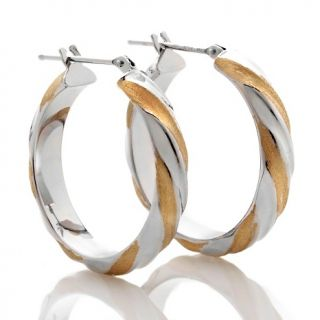 Michael Anthony Jewelry 14K Gold Two Tone Twisted Hoop Earrings