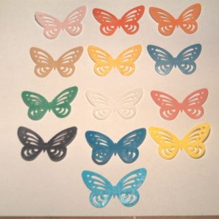 13 x Various Edible Rice Paper Butterfly Cup Cake Decoration
