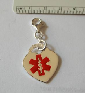 Red Enamel Engravable Heart Medical Alert Charm Lobster Clasp