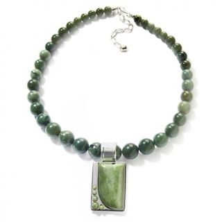Mine Finds by Jay King Green Serpentine Pendant and 18 Necklace